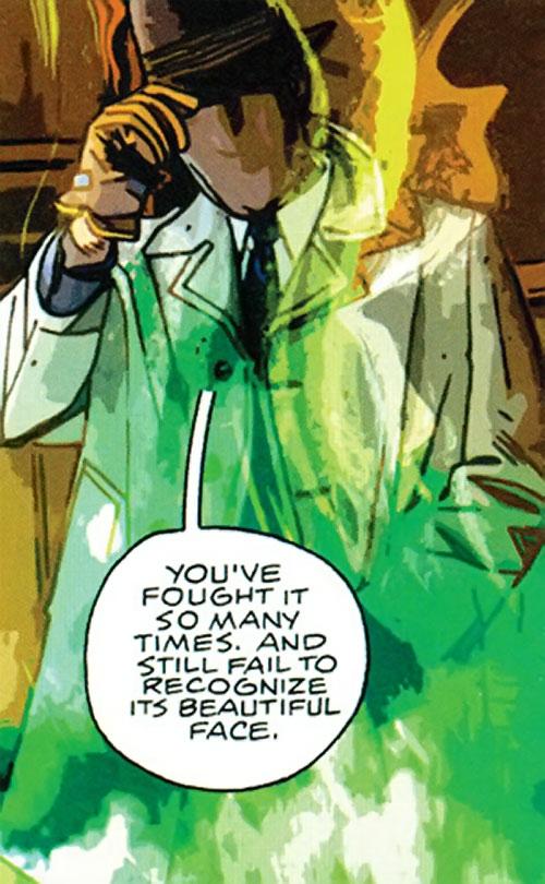 The Question (DC Comics) (Veitch urban shaman version) in strange smoke