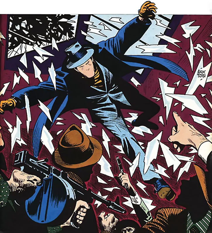 The Question (Vic Sage) crashing through a skylight, by Alex Toth
