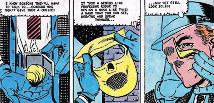 The Question (Vic Sage) puts on his mask, by Steve Ditko