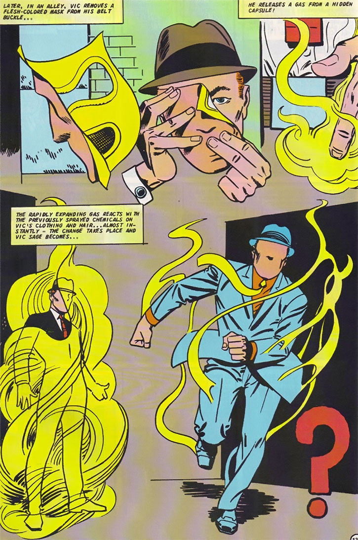 The Question (Vic Sage) transforms, by Steve Ditko