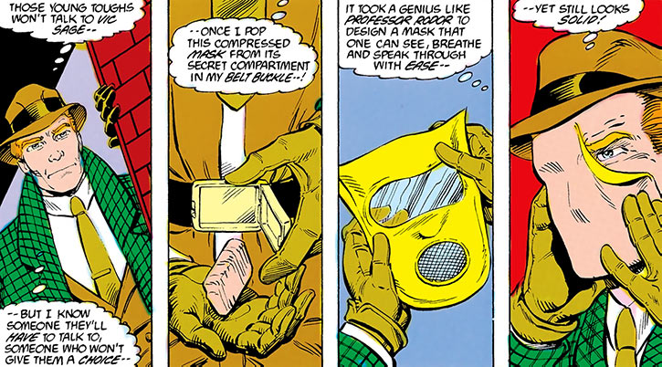 The Question (Vic Sage) puts on his mask in Blue Beetle
