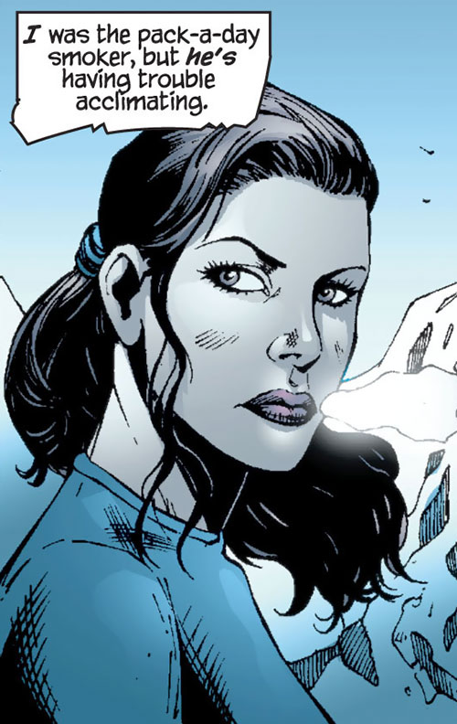 Question (Renee Montoya) (DC Comics) face closeup in the mountains
