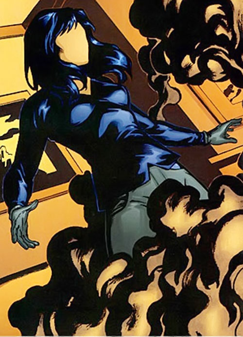 Question (Renee Montoya) (DC Comics) with a black shirt within smoke
