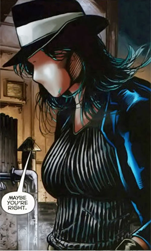 Question (Renee Montoya) (DC Comics) with a had and ribbed sweater
