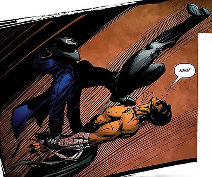 The Question (Renee Montoya) delivers a kick