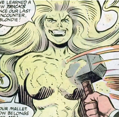 Quicksand (Thor enemy) (Marvel Comics) ignoring a blow from Mjolnir