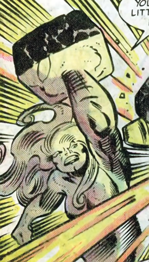 Quicksand (Thor enemy) (Marvel Comics) hitting with a hammer fist