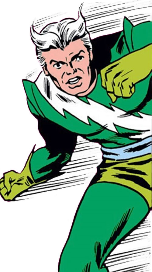 Quicksilver of the Avengers (early Marvel Comics) speeding