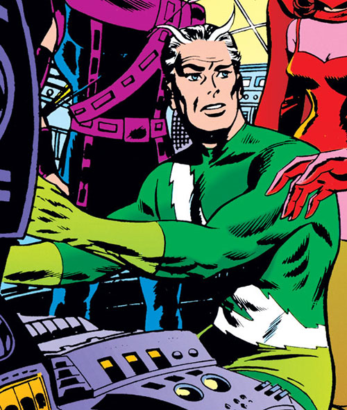 Quicksilver of the Avengers (early Marvel Comics) operating a console