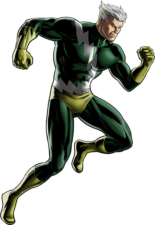 Quicksilver of the Avengers (early Marvel Comics) modern depiction of the green costume