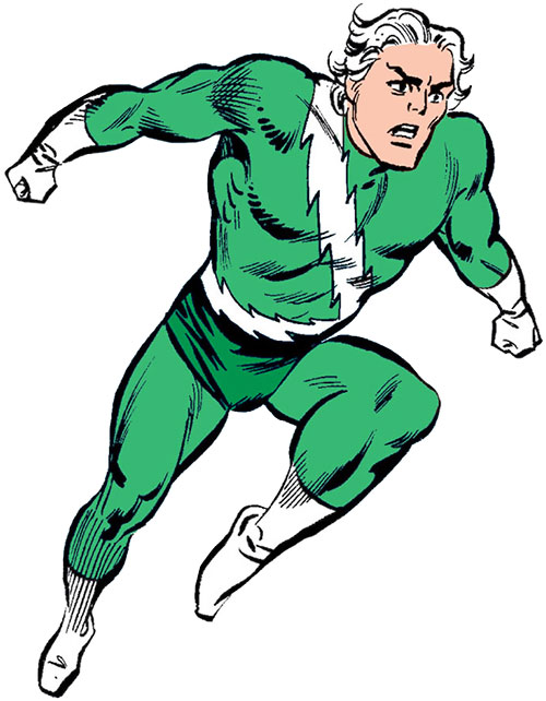 Quicksilver of the Avengers (early Marvel Comics) dashing