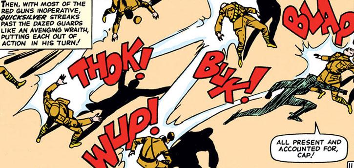Quicksilver (Pietro Maximoff) takes down numerous guards