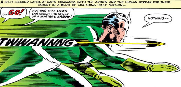Quicksilver (Pietro Maximoff) racing Hawkeye's arrow