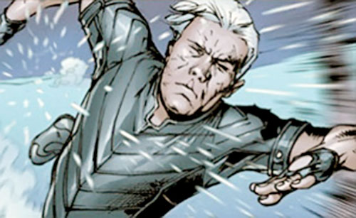 Ultimate Quicksilver (Marvel Comics) running in the snow