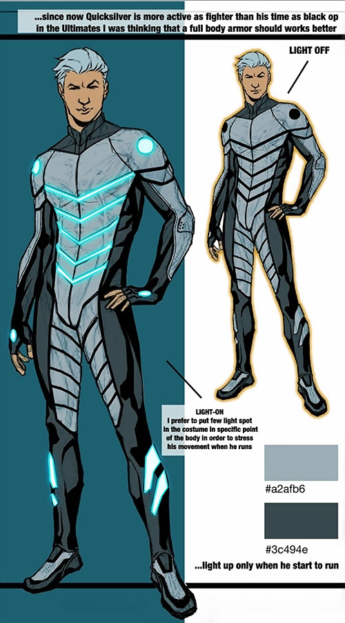 Ultimate Quicksilver (Marvel Comics) body armor design sheet