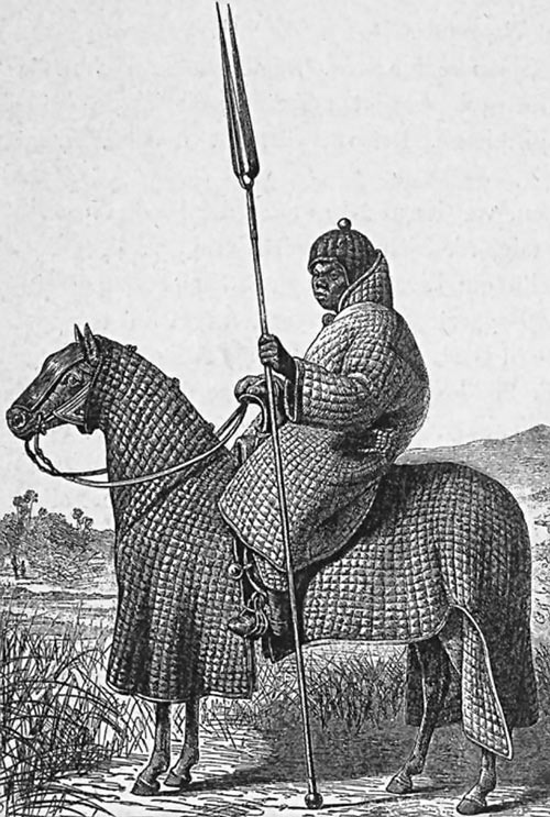 Rider in quilted armor robe from Bagirmi