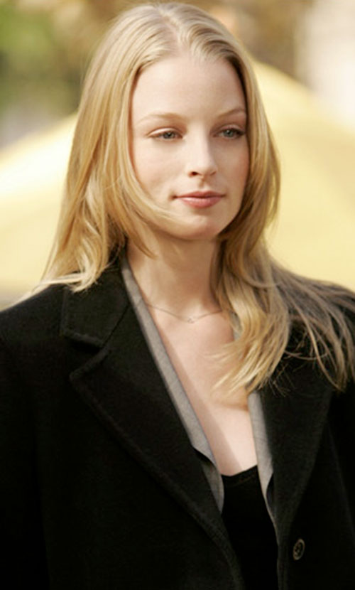 Rachel Gibson (Rachel Nichols in Alias) with a black coat