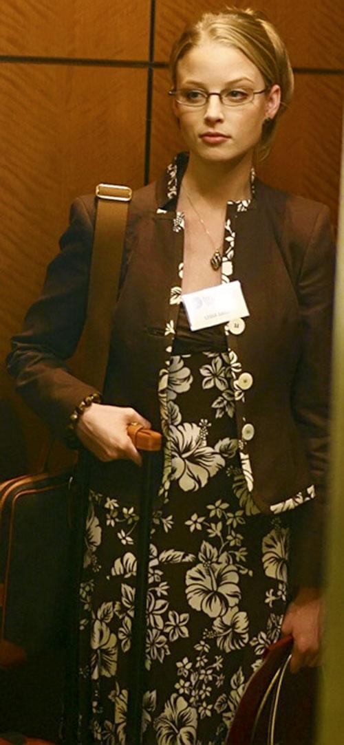 Rachel Gibson (Rachel Nichols in Alias) in a brown floral dress