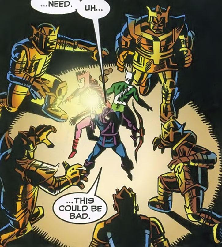 Radioactive Man's robots surround the Avengers