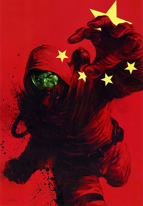 The Radioactive Man with a hazmat suit and a Chinese flag