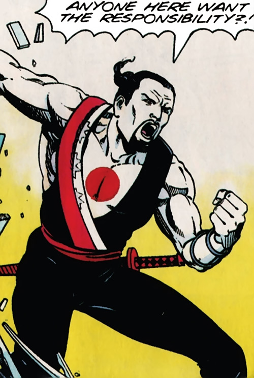 Rai (Valiant Comics 1990s) (Takao Konishi) yelling at people