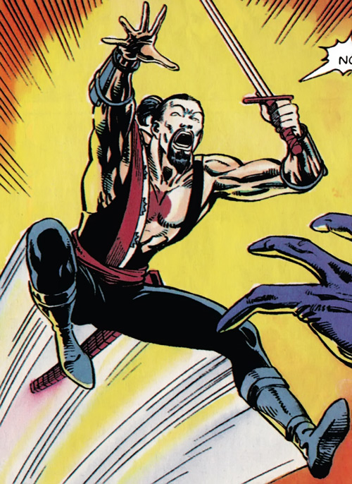Rai (Valiant Comics 1990s) (Takao Konishi) leaping with his katana