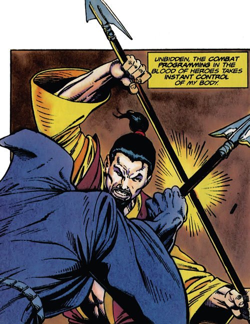 Rai (Valiant Comics 1990s) (Takao Konishi) fighting with a spear