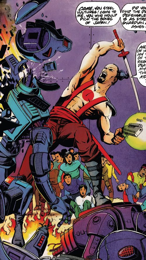 Rai (Valiant Comics 1990s) (Takao Konishi) defending a crowd from robots