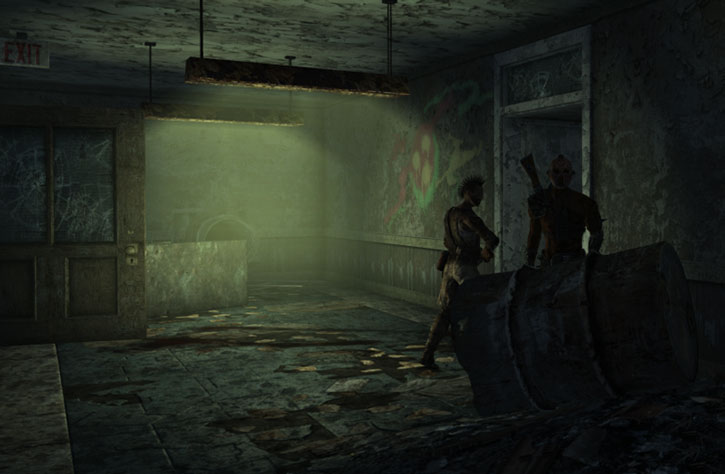 Two raiders patrol a gloomy corridor at the Springvale Elementary School