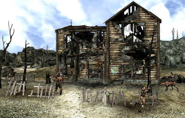 Raiders and the ruins of Kaelyn's Bed & Breakfast