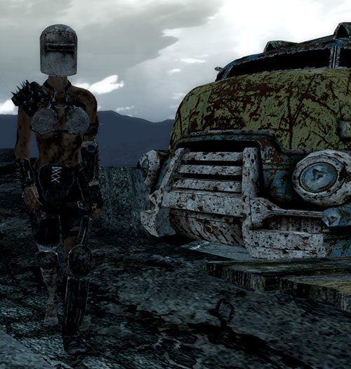 Fallout 3 raider - woman with soldering mask and truck wreck