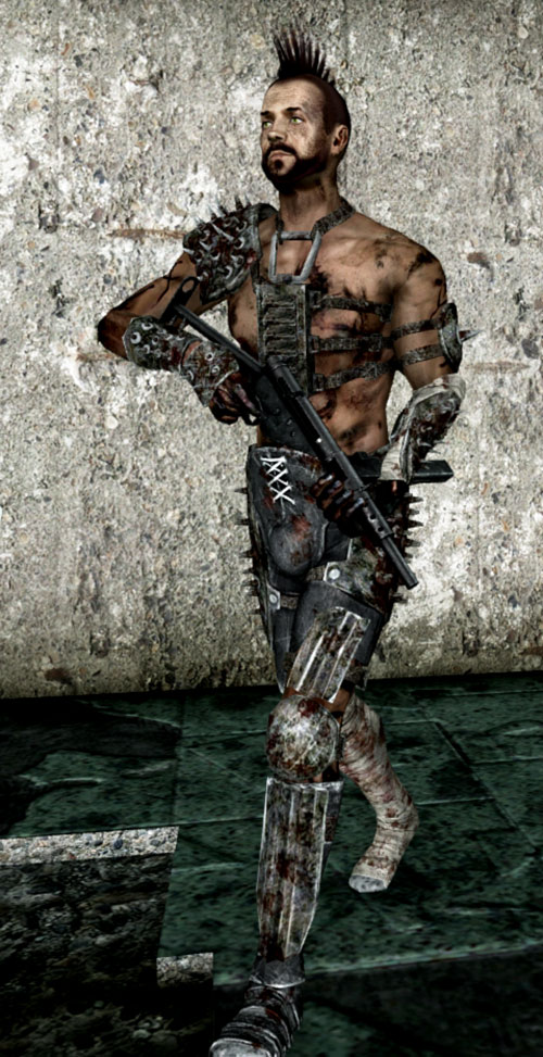 Fallout 3 raider - bare chest and a sten