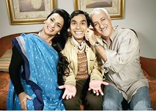 Rajesh Koothrappali (Kunal Nayyar in Big Bang Theory) with his parents