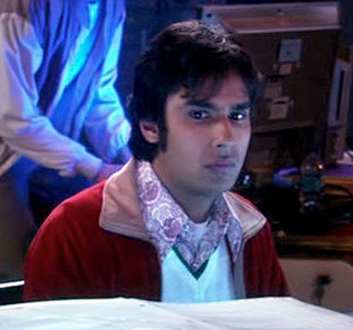 Rajesh Koothrappali (Kunal Nayyar in Big Bang Theory) looking apprehensive