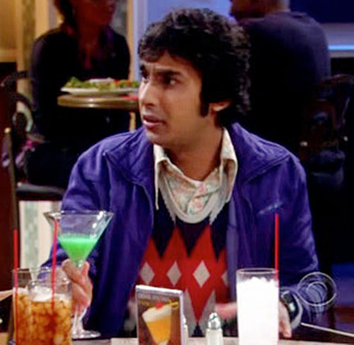 Rajesh Koothrappali (Kunal Nayyar in Big Bang Theory) in a restaurant