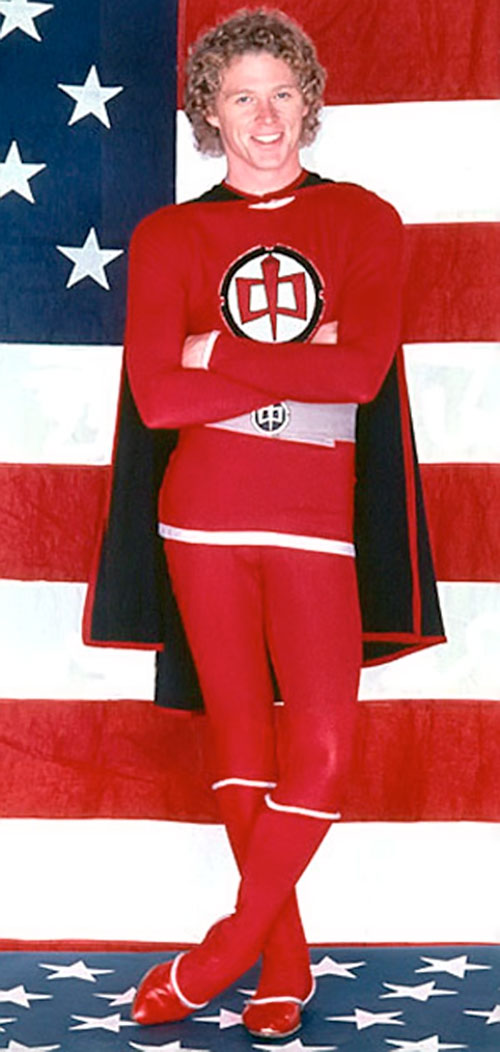 Ralph Hinkley (William Katt in Greatest American Hero) posing in front of a flag