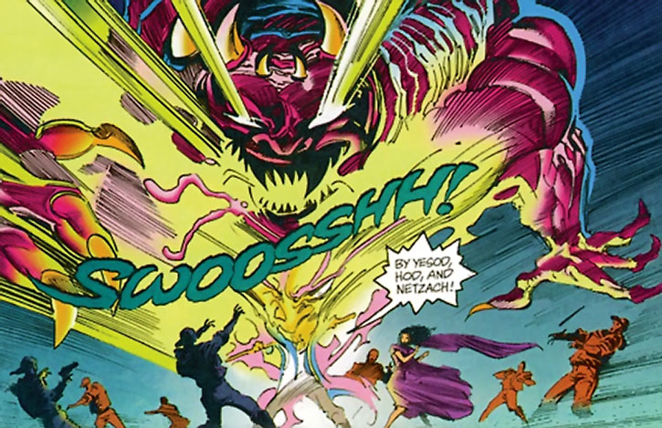 Ramban simulates conjuring a huge demon