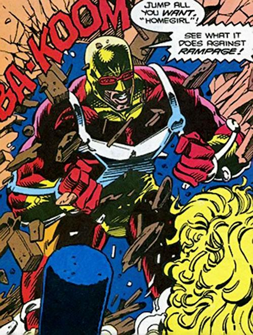 Rampage (Clarke) (Marvel Comics) bursts through a wall