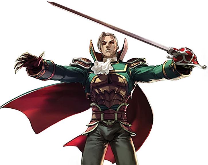 Raphael Sorel brandishing his sword and looking somewhat vampire-like