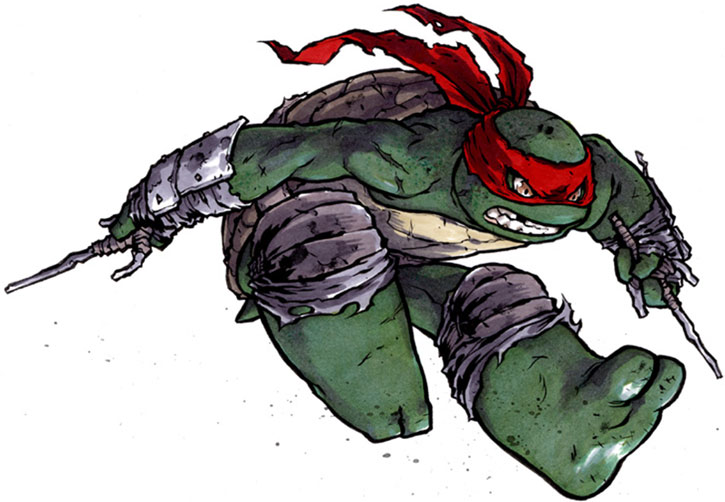 Raphael leaping angrily on a white background