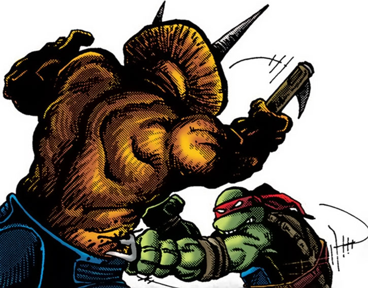 Raphael fights a triceratron, on a white background