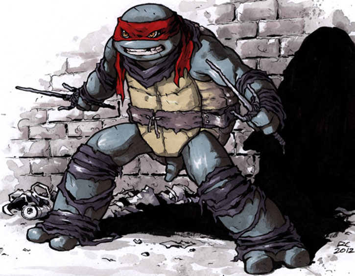 Raphael stands defiantly with sai drawn, his back against a wall