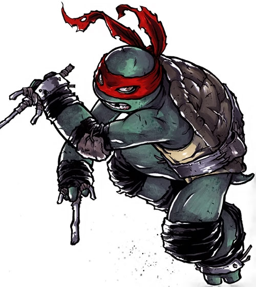 Raphael of the Teenage Mutant Turtles (TMNT comics) with paired crude sai