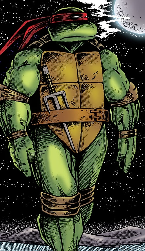 Raphael of the Teenage Mutant Turtles (TMNT comics) walking in the night