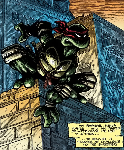 Raphael of the Teenage Mutant Turtles (TMNT comics) posing on a rooftop ledge