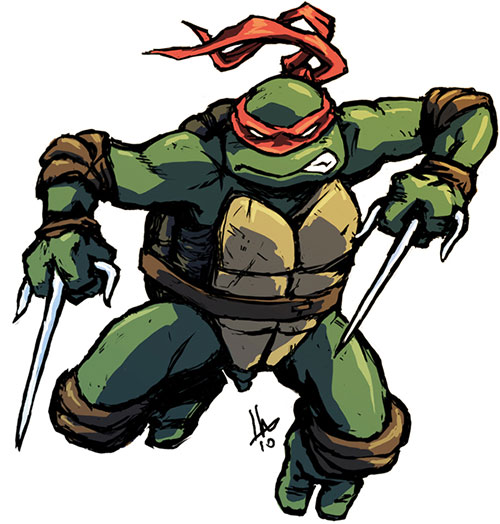 Raphael of the Teenage Mutant Turtles (TMNT comics) leaps to attack with sai