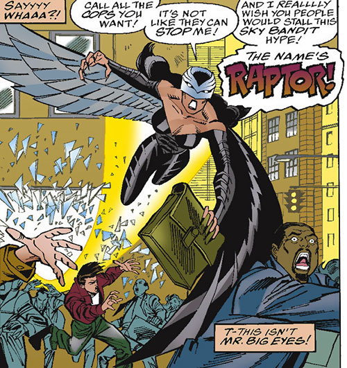 Raptor (Spider-Girl character) (Marvel Comics MC2) (Drago) grazing a crowd