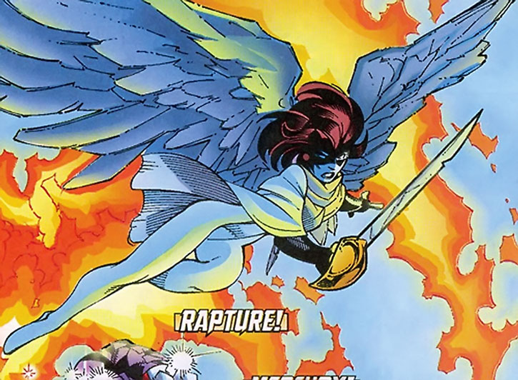 Rapture flying with her sabre out