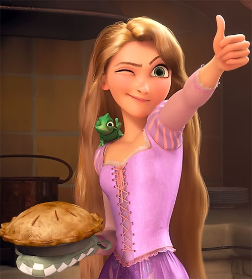 Rapunzel (Disney movie) with a thumb up and a baked pie