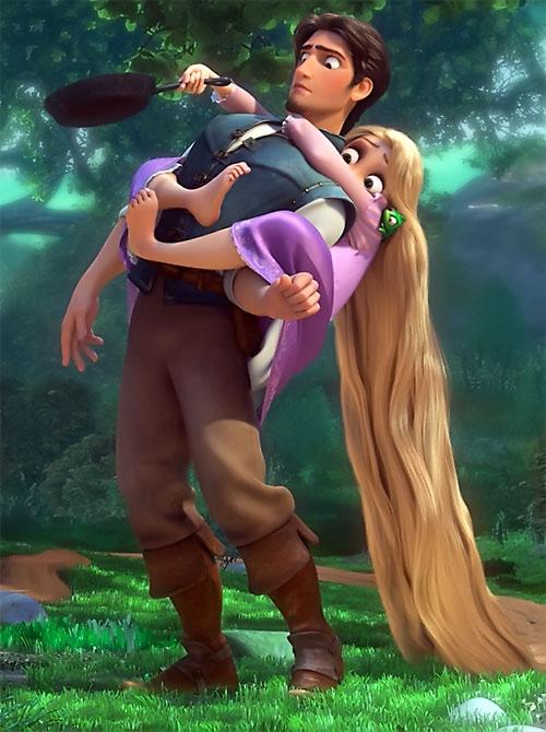 Rapunzel (Disney movie) riding on Flynn's back